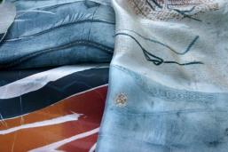 monoprints on silk, Nancy Brown artist