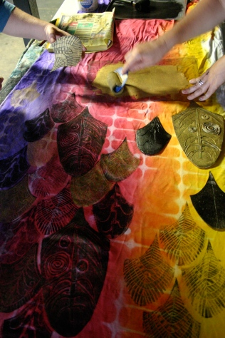Dragon tail blockprints upatree Puppetry community workshops, nancy Brown artist
