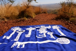 Pilbara community created screenprints made at workshop, Nancy Brown artist
