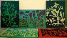 Screen printed panels made by children at Collinsville