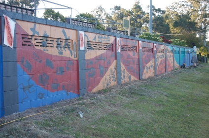 Oxley mural designed by Nancy Brown and Oxley State school students