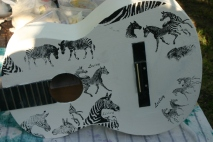 making zebra guitar