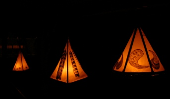teepee lanterns with candles