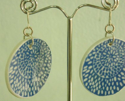 blue poinciana disc earrings