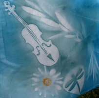 blue violin and pollen fabric
