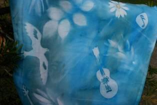 blues fabric print, nancy Brown artist