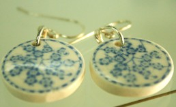 little blue blossom disc earrings