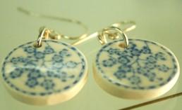 little blue blossom disc earrings