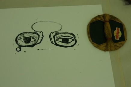 lino print eyes