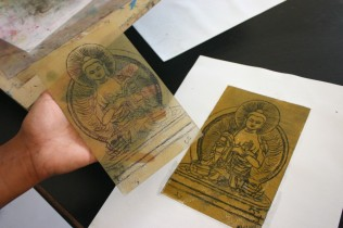 buddha drypoint with etching plate