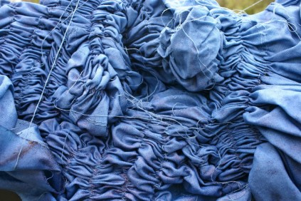 smocking with indigo