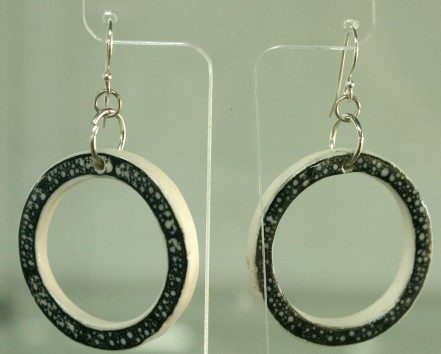 bw porcelain hoop earrings