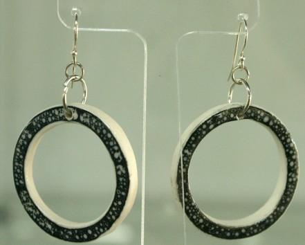 bw porcelain hoop earrings