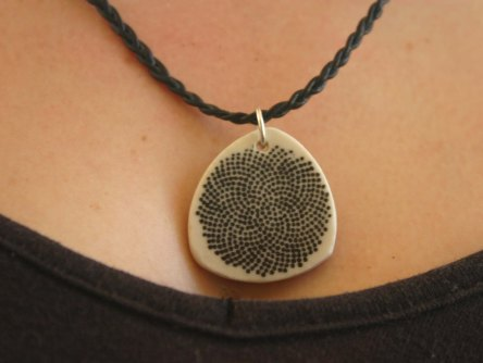 wearing fibonacci bw pendant