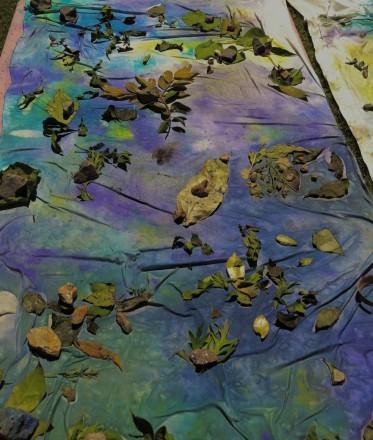 rocks, leaves, salt, silk