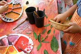 painting and placing the leaves