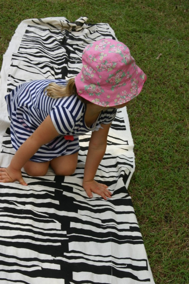 screenprinted striped play cloth created by preschoolers