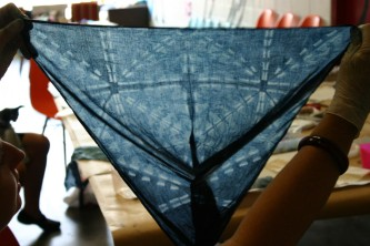 Shibori clamped indigo piece, Raw Art Brisbane