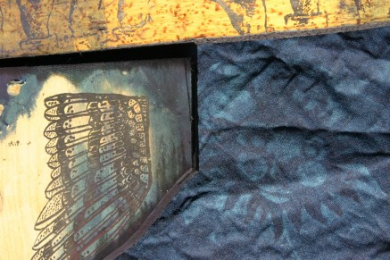 indigo stained timber and textiles, Nancy Brown