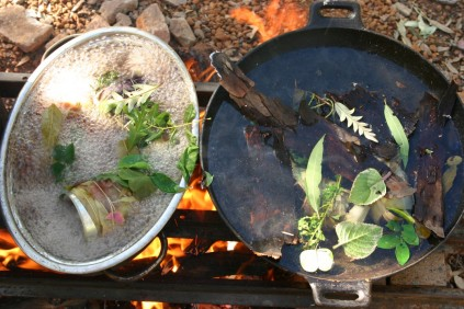 shibori bundles on the fire