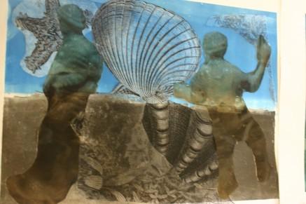 blue shell monoprint