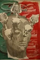 surreal head and skeletal bird print