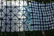 Geometric shibori, indigo dyed
