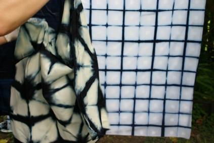 unfolding shibori clamped indigo design