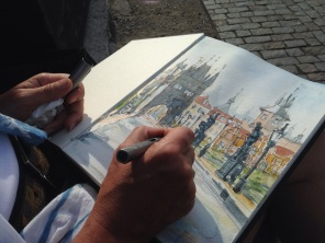 Alison sketching in Prague