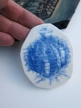 cactus brooch blue wing