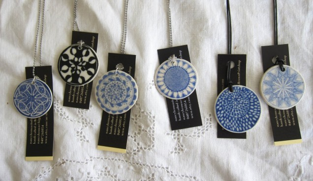 porcelain pendants with tags