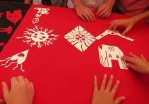 arranging red stencils