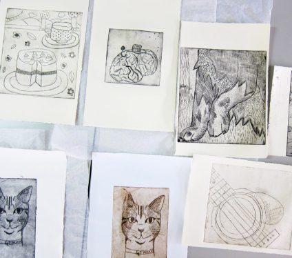 Glennie etchings 16 cat guitar