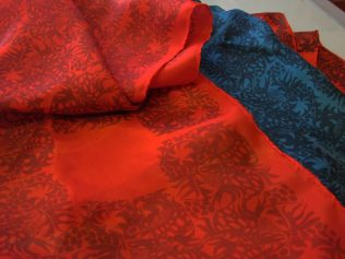 tropical blue and scarlet silk scarves