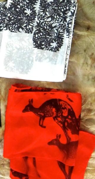 tropical white and kangaroo scarf