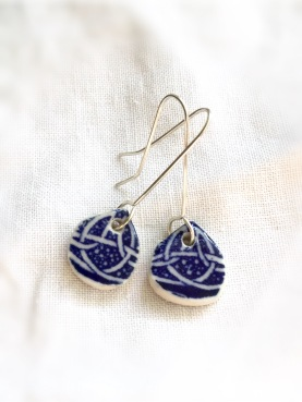 Nancy Brown porcelain delft blue drop earrings