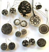 Nancy brown porcelain ceramic print jewellery