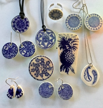 Nancy Brown porcelain cobalt blue jewellery