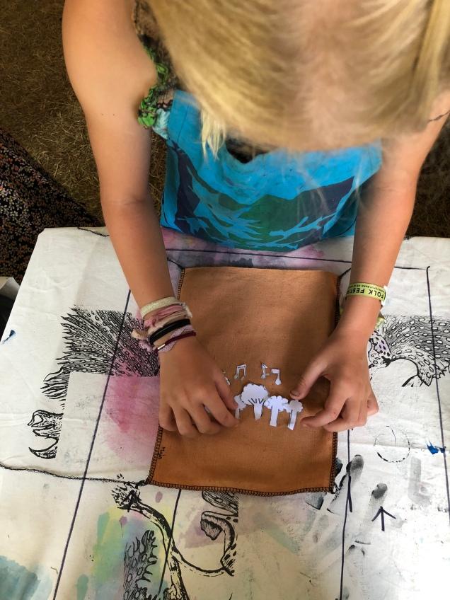 Screenprint stencil design Woodford Children's Festival