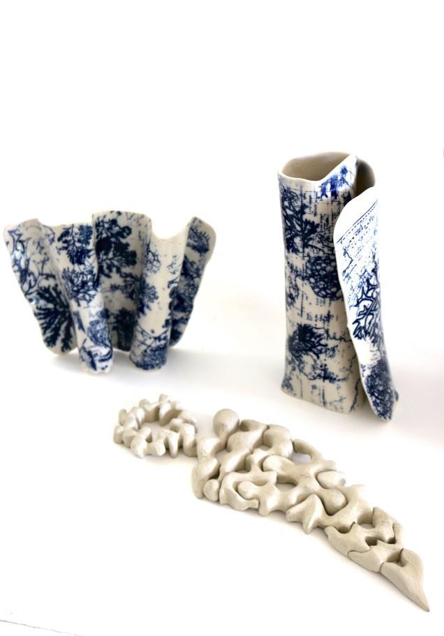 Nancy Brown porcelain scrolls FS Hellfisch sculptural timber pieces. archaeology Exgibition