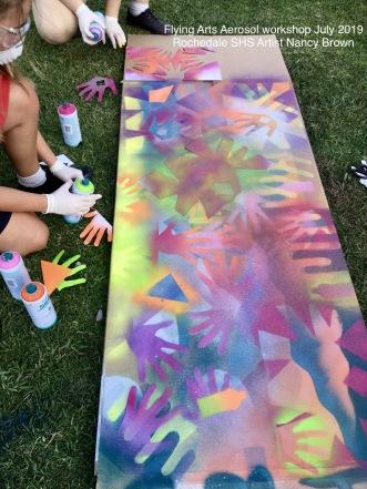 Flying Arts workshop aerosol art artist Nancy Brown